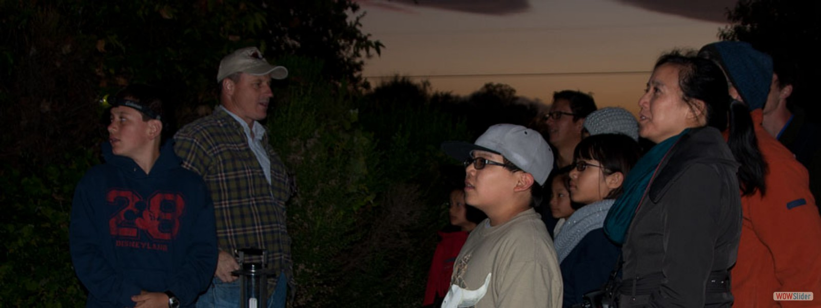 CSU Fullerton Professor Paul Stapp explains acoustic bat detection to BFS Earth Day Family Night participants
